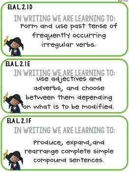 CCS Aligned: Objective Cards [SECOND GRADE]