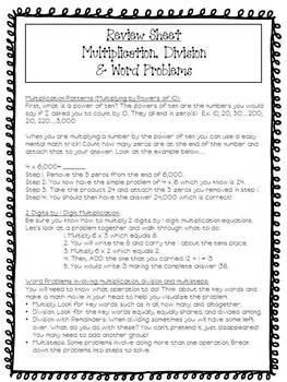 CCS Assessment on Multiplication/Division & Word Problems with Study Guide
