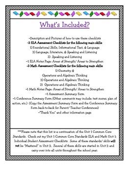 CCS ELA and Math Unit 2: Individual Student Assessment Checklists