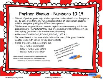 CCS {K/1st} - Partner Games-Toodle-oo - Numbers 10-19