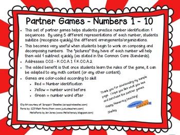 CCS {Kindergarten} - Partner Games - Numbers 1-10