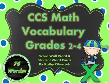 CCS Math Vocabulary for Grades 2-4 -- Word Wall Cards