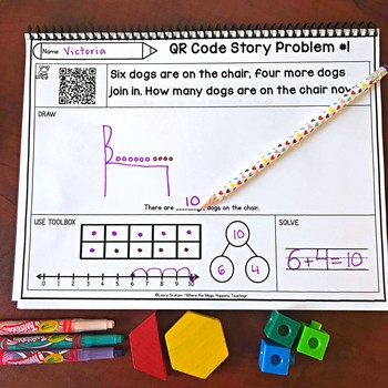 Word Problems for Kindergarten K.OA.A.2, 1.OA.A.2