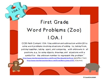 CCSS 1.OA.1 Word Problems (Zoo)  Set A