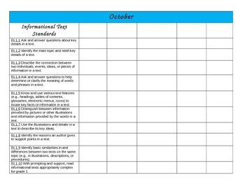 CCSS 1st Grade Informational Text Monthly Thematic Planning Guide