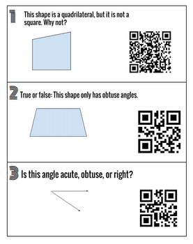 CCSS 2G1 Shape Attribute Task Cards with QR Codes