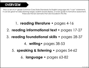 Common Core ELA I Can Statements 2nd Grade