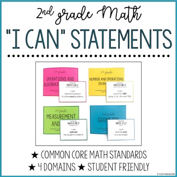 Common Core Math I Can Statements 2nd Grade