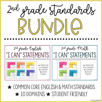 Common Core Math and ELA I Can Statements 2nd Grade