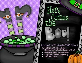 CCSS 3.OA.1 Halloween, Multiplication, Arrays, Task Cards, Save Ink