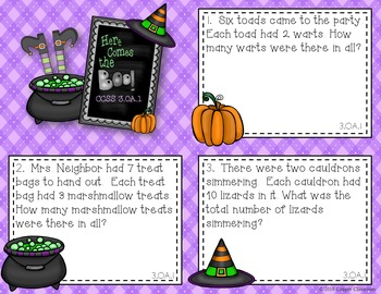 CCSS 3.OA.1 Halloween, Multiplication, Arrays, Task Cards, Save Ink