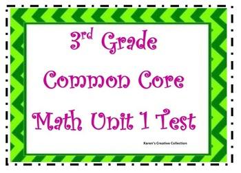 CCSS 3rd Grade Math Unit 1 Test