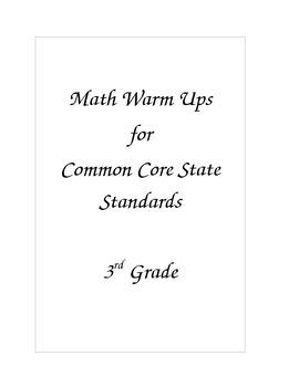 CCSS 3rd Grade Math Warm Ups
