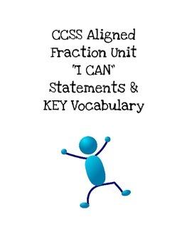 "CCSS 4th Gr Aligned ""FRACTIONS UNIT"" I CANs & Vocab"