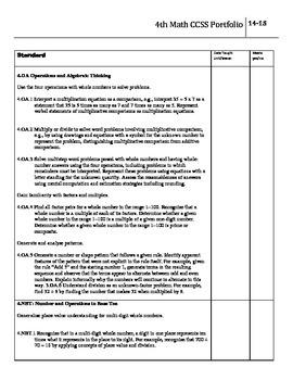 CCSS 4th Grade Math Portfolio