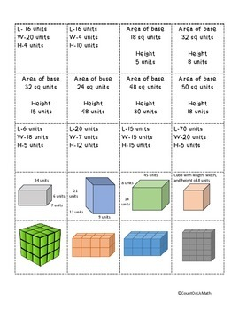 CCSS 5.MD.5 Volume 4-in-a-Row Game