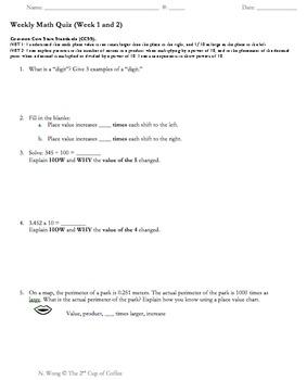 CCSS 5.NBT.1, 5.NBT.2 Quiz