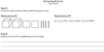 CCSS: 5.NBT.A.3 – Comparing Decimals Exit Ticket