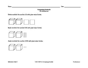 CCSS: 5.NBT.A.3 – Comparing Decimals Pre-Assessment