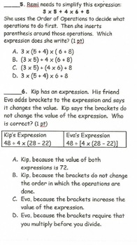 CCSS 5.OA.A.1 / 5.OA.A2 Expressions and Order of Operations