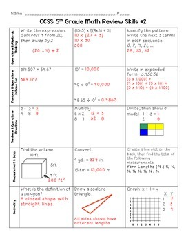 SBAC 5th Grade Common Core Math Review