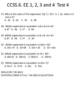 CCSS.6.EE.1, 2, 3, 4 TEST 4 EXPONENTS, PEMDAS, EXPRESSIONS, SUBSTITUTION DISTRIB