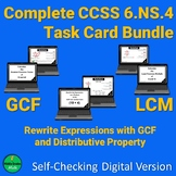 GCF LCM Rewrite Expressions Self-Checking Task Card Bundle