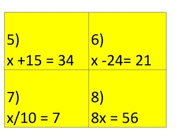 CCSS.6.EE 6TH GR MATH DIFFERENTIATION SCAVENGER HUNT--SCOOT ACTIVITY EQUATIONS