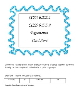 CCSS 6.EE.1, 6.EE.2 Exponents Card Sort