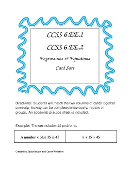 CCSS 6.EE.1, 6.EE.2 Expressions & Equations Card Sort