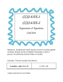 CCSS 6.EE.1, 6.EE.2 Expressions & Equations Card Sort