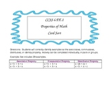 CCSS 6.EE.1 Properties of Math Card Sort