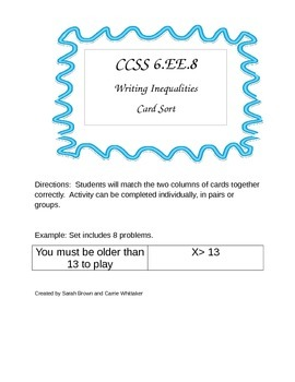 CCSS 6.EE.8 Writing Inequalities Card Sort