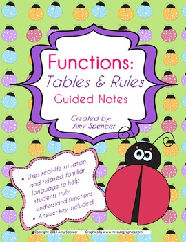 CCSS 6.EE.9  Guided Notes - Functions, Tables, and Rules