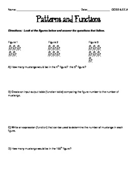 CCSS 6.EE.9  Patterns and Functions Practice