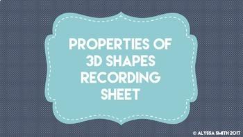 Properties of 3D Shapes Recording Sheet