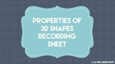 Properties of 3D Shapes Recording Sheet