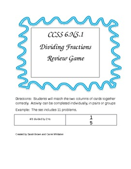 CCSS 6.NS.1 Dividing Fractions Review Game