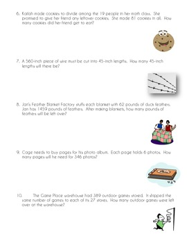 CCSS 6.NS.2  Division Word Problems Worksheet