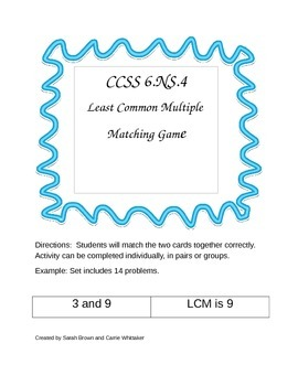 CCSS 6.NS.4 Least Common Multiple  Matching Game