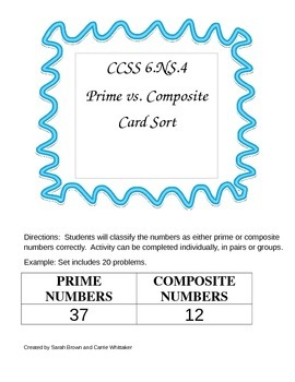CCSS 6.NS.4 Prime vs. Composite Card Sort