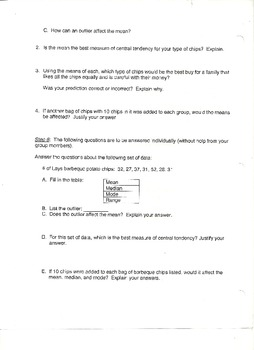CCSS 6.SP.3 and 6.SP.5c  Measures of Central Tendency Group Activity