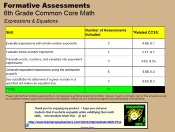 CCSS 6th Grade Equations & Expressions Formative Assessments