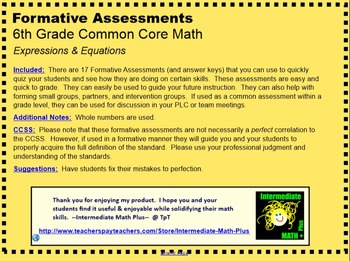 CCSS 6th Grade Equations & Expressions Formative Assessments