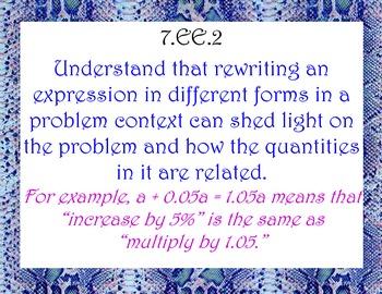 CCSS 7th Grade Math Standards - Animal Print