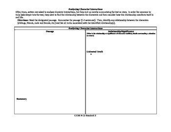 CCSS 9-10 RL Standard 3 Anayzing Character Interactions