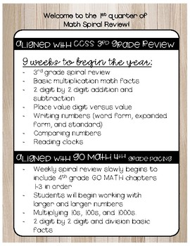 CCSS AND Go Math Aligned Spiral Review to START the Year With!