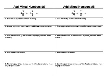 Add Mixed Number (Unlike Denominators) Printable Step By Step Practice Cards