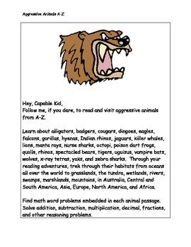 CCSS Aggressive Animals Research, Reading, Math, Writing, Logic