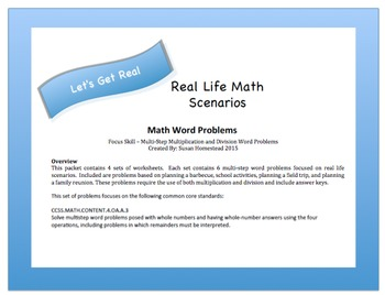 CCSS Aligned 4.OA.A.3 ~Real World Problems Multi Step Multiplication & Division